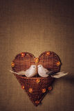 Petit oiseau deux les amants, coeur Images stock