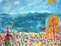 Petit pêcheur - image de gouache faite par l'enfant Photographie stock libre de droits