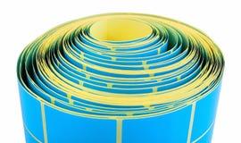 Petit pain bleu de label d'isolement sur le fond blanc avec la réflexion d'ombre Bobine de couleur des labels pour des imprimante Images stock