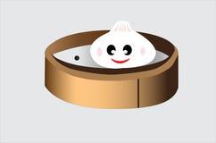 Petit pain cuit à la vapeur dans le plat en bambou Image stock
