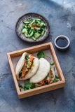 Petit pain de Bao avec le ventre de porc, sandwich cuit à la vapeur, bao de gua photos libres de droits