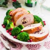 Petit pain de blanc de dinde de Noël Photo stock