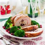 Petit pain de blanc de dinde de Noël Image stock