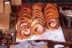 Petit pain de cannelle de Kanelbulle photo stock