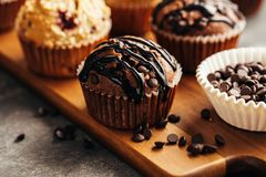 Petit pain de chocolat avec des puces de chocolat photos libres de droits