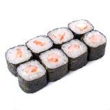 Petit pain de Japonais avec des crevettes roses de tigre d'isolement sur l'esprit blanc de fond Images stock
