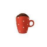 Petit pain de micro-onde de chocolat dans une tasse rouge Images stock