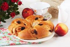 Petit pain de petit pain avec le raisin sec de pomme et de cannelle dans une vie immobile du plat lumineux Photographie stock
