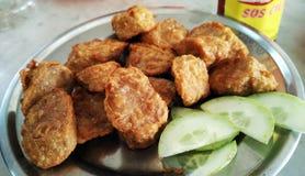 Petit pain de ressort frit de porc avec le concombre images libres de droits