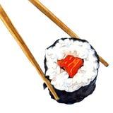 Petit pain de sushi d'isolement avec des baguettes illustration libre de droits