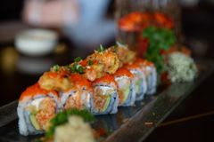 Petit pain de sushi d'un plat Photographie stock