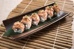 Petit pain de sushi incendié Photographie stock libre de droits