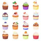 Petit pain de vecteur de petit gâteau et dessert doux de gâteau avec les baies ou l'ensemble durci d'illustration de sucreries de illustration stock