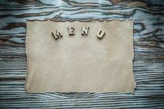 Petit pain de vintage de menu sur le conseil en bois Images libres de droits