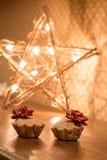 Petit pain deux avec la lumière proche d'étoile de pommes Cadeau pour le jour de valentine Image stock
