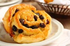 Petit pain doux gratuit de remous de gluten frais avec des raisins secs Photos stock