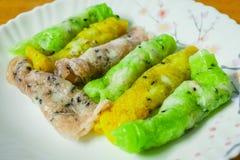 Petit pain thaïlandais mou de crêpe de farine de riz photographie stock