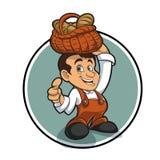 Petit personnage de dessin animé heureux de boulanger Photo libre de droits
