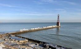 Petit pilier outre du lac Michigan Image libre de droits