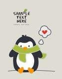 Petit pingouin utilisant une écharpe Illustration de Vecteur