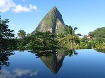 Petit Piton in St Lucia. Petit Piton and reflection in St Lucia, Windward Islands, Lesser Antilles, Caribbean, West Indies Stock Photo
