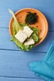 Petit plat de fromage au-dessus de vue Photographie stock