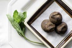 Petit plat des truffes de chocolat. Image libre de droits