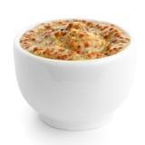 Petit plat en céramique blanc de moutarde française Images stock