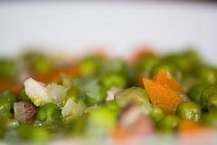 Petit pois La Francaise die, detail van ingrediënten neer eruit zien stock afbeelding
