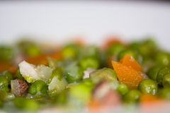 Petit pois a la Francaise looking down, detail of ingredients Stock Image