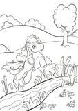 Petit poney mignon sautant par-dessus la rivière sur le champ Image stock