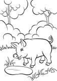Petit porc mignon dans la forêt avec peu d'étang Image libre de droits