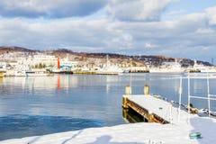 Petit port autour de ville d'Otaru photo stock