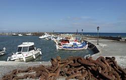 Petit port de castello de Porto sur le santorini Photos libres de droits