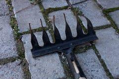 Petit râteau de jardin noir sur la tuile grise photo libre de droits