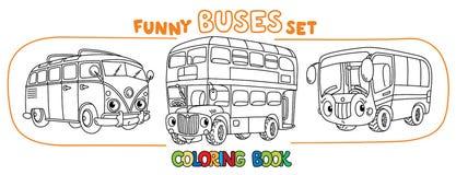 Petit rétro autobus drôle avec des yeux Ensemble de livre de coloriage Photos libres de droits