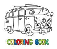 Petit rétro autobus drôle avec des yeux Livre de coloration Photos libres de droits