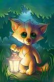 Petit renard avec la lanterne dans la forêt Photos libres de droits