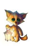 Petit renard avec la lanterne dans la forêt Photo stock