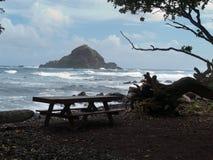 Petit rivage proche d'île rocheuse Images libres de droits