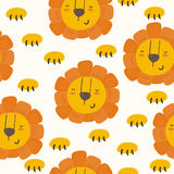 Petit style mignon de bande dessinée de lion Configuration de vecteur Photo libre de droits