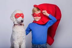 Petit surhomme beau avec le chien super Veille de la toussaint Portrait de studio au-dessus du fond blanc Images stock