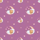 Petit Teddy Bear dormant sur un croissant de lune Photographie stock libre de droits