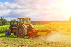 Petit tracteur fonctionnant dans le domaine agriculture de petit exploitant Images stock