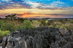 Petit Tsingy-zonsonderganghemel royalty-vrije stock afbeelding