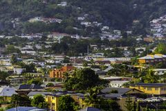 A view of the densely populated Petit Valley just off of More Coco Road, Trinidad Stock Photos