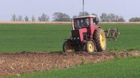 Petit vieux champ cultivé d'agriculture par tracteur au printemps banque de vidéos