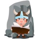 Petit Viking ont un livre dans la main le chef heureux de crabots mignons effrontés de personnage de dessin animé de fond a isolé illustration stock