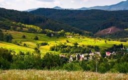 Petit village carpathien en montagnes images libres de droits