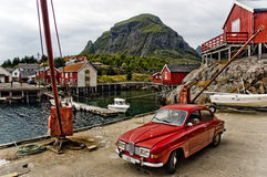 Petit village de pêche norvégien Images libres de droits